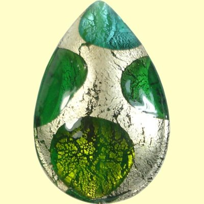 1 Murano Glass White Goldfoil Extravagant Greens Large Pear Drop
