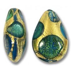 1 Murano Glass Goldfoil Extravagant Dark Aquamarine Sapphire and Emerald Small Pear Drop
