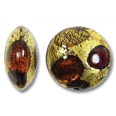 1 Murano Glass White Goldfoil Extravagant Light Dark Ruby and Topaz 16mm Lentil