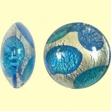 1 Murano White Goldfoil Extravagant Sapphire and Aquamarine Lentil