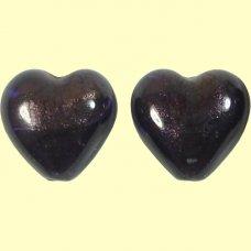 2 Murano Dark Purple Velvet White Gold Foiled 14mm Heart Beads