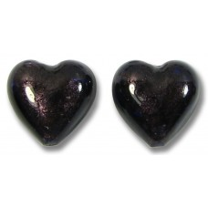 2 Murano Glass Plum (Dark Purple) White Gold Foiled 14mm Heart Beads