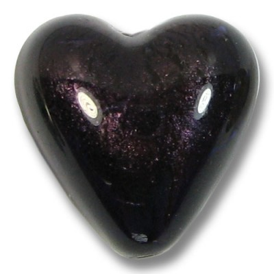 1 Murano Glass Dark Purple Velvet White Gold Foiled 20mm Heart Bead