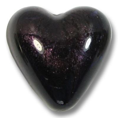 1 Murano Glass Dark Purple Velvet White Gold Foiled 20mm Heart Bead