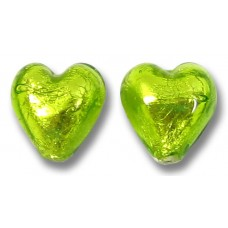 Pair Murano Glass Lime Silver Foiled 10mm Heart Beads