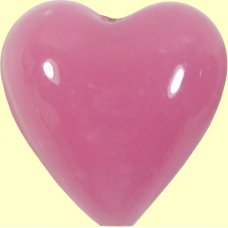 1 20mm Murano Glass Heart - Opaque Pink
