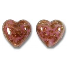 2 Murano Glass Sommerso Rose & Ginger 14mm Heart Beads