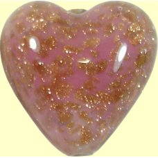 1 Murano Glass Sommerso Rose & Ginger 20mm Heart Bead