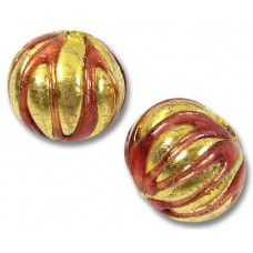 1 Murano Glass Goldfoil Rubino Ribbed Round 14mm Bead