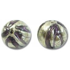 1 Murano Glass White Gold Foiled Purple Velvet Ribbed Round Bead