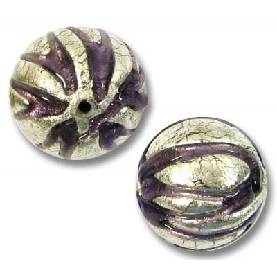 1 Murano Glass White Gold Foiled Purple Velvet Ribbed Round 14mm Bead