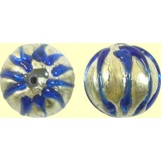 1 Murano Glass White Gold Foiled Cobalt Ribbed Round Bead