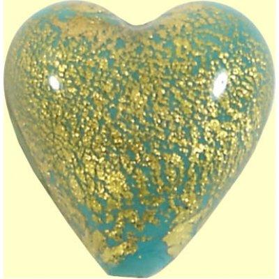 1  Murano Glass Crackle Goldfoil Sea Green Heart