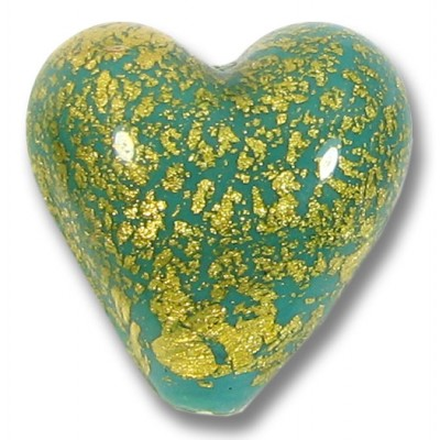 1  Murano Glass Crackle Goldfoil Sea Green Heart