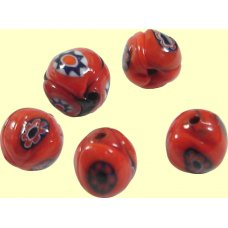 10 Murano Glass 8mm Red Mosaic Beads