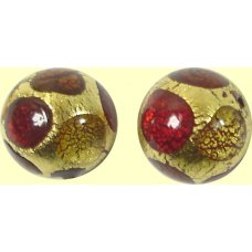 1 Murano Glass Goldfoil Extravagant Light Dark Ruby and Topaz 14mm Bead