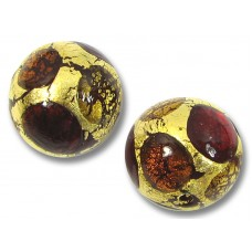 1 Murano Glass Goldfoil Extravagant Light Dark Ruby and Topaz 14mm Round Bead