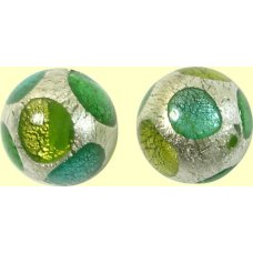 1 Murano Glass White Goldfoil Extravagant Greens 14mm Bead