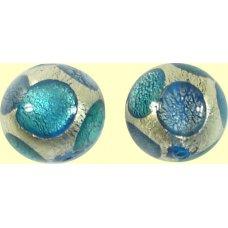 1 Murano Glass Goldfoil Extravagant Sapphire Aqua Verde 14mm Bead