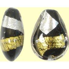 1 Murano Glass Midnight Treasure Small Pear Drop