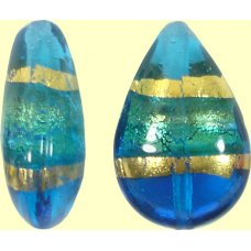 1 Murano Glass Turquoise Gold Foil Band Small Pear Drop