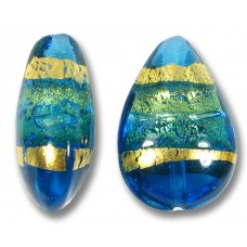 1 Murano Glass Turquoise Gold Foiled Band Small Pear Drop