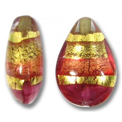 1 Murano Glass Ruby Gold Foiled Band Small Pear Drop