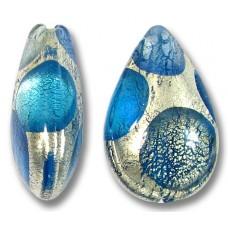 1 Murano Glass White Goldfoil Extravagant Sapphire Aqua BD Small Pear Drop