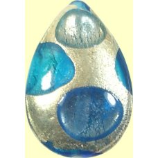 1 Murano Glass White Goldfoil Extravagant Sapphire Aqua BD Large Pear Drop