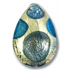 1 Murano Glass White Goldfoil Extravagant Sapphire Aqua BD Large Pear Drop