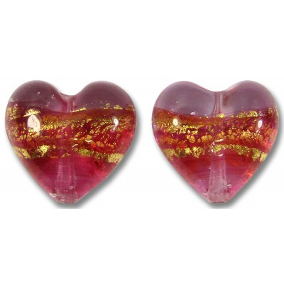 Pair 14mm Murano Glass Ruby Gold Foiled Clear Hearts