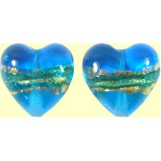 Pair 14mm Murano Glass Turquoise Blue Gold Foiled Hearts