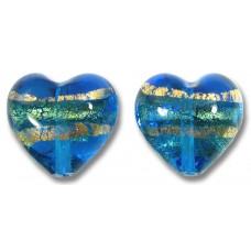 Pair 14mm Murano Glass Turquoise Blue Gold Foiled Band Hearts