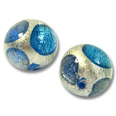 1 Murano Glass Goldfoil Extravagant  Sapphire Aquamarine BD  14mm Bead