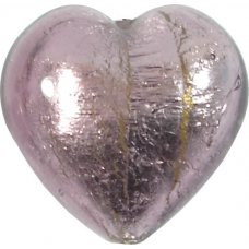 1 Murano Glass Light Amethyst Silver Silver Foiled 28mm Heart