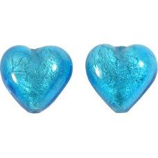 Pair Murano Glass Dark Aquamarine White Gold Foiled 14mm Heart Beads