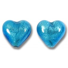 Pair Murano Glass Dark Aquamarine White Gold Foiled 14mm Heart Beads