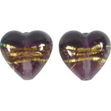 Pair 14mm Murano Glass Amethyst Gold Foiled Hearts