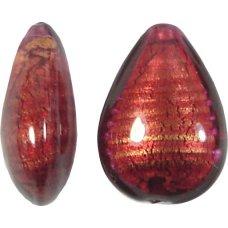 1 Murano Glass Rubino Goldfoil Small Pear Drop Bead