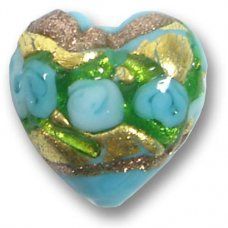 1 Murano Glass Amore Turquoise, Goldfoil & Aventurine 15mm Heart