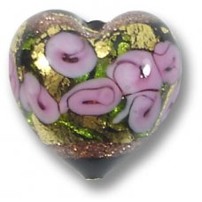 1 Murano Glass Amore Black Goldfoil & Aventurine 15mm Heart