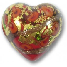 1 Murano Glass Amore Ruby Red Goldfoil & Aventurine 25mm Heart