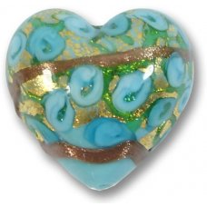 1 Murano Glass Amore Turquoise Goldfoil & Aventurine 25mm Heart