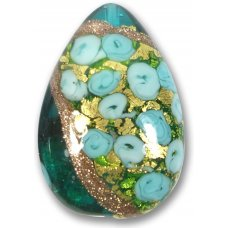 1 Murano Glass Amore Emerald Goldfoil & Aventurine 34mm Peardrop