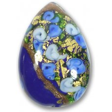 1 Murano Glass Amore Sapphire Goldfoil & Aventurine 34mm Peardrop
