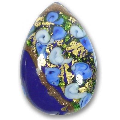 1 Murano Glass Amore Sapphire Goldfoil & Aventurine 34mm Peardrop