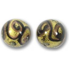 1 Murano Glass Medusa Dark Topaz Goldfoil 14mm Round Bead