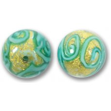 1 Murano Glass Medusa Turquoise Goldfoil 14mm Round Bead