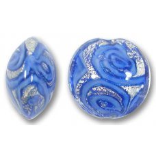 1 Murano Glass Medusa Sapphire White Goldfoil 18mm Lentil Bead