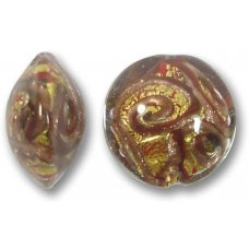 1 Murano Glass Medusa Topaz Goldfoil 18mm Lentil Bead